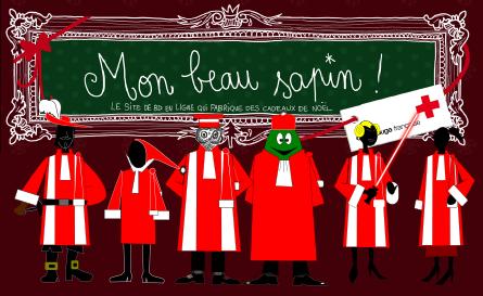 Gascogne, Fantômette, Anatole Turnaround, Eolas, Dadouche et Lulu, tous en belle robe rouge et blanche aux couleurs de Noël, devant la bannière du site http://monbeausapin.org/