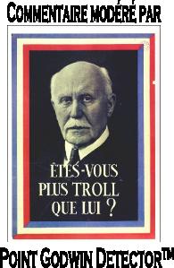 Le portrait du Maréchal de 1943 regarde l'internaute avec défi. Au-dessous, ce slogan : «Êtes-vous plus troll que lui ?» L'image est encadrée par la mention « Commentaire modéré par Point Godwin Detector™»